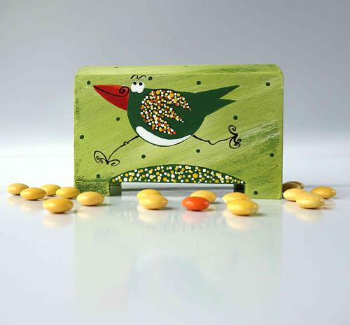 pokladnička - zelená s ptáčkem
