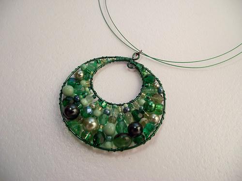 Mechový polštářek v zelené - náhrdelník
