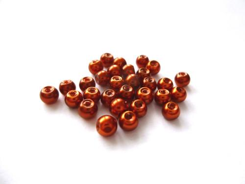 Skleněné perly rezavé 4mm/30ks