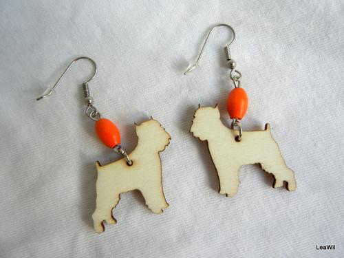 Naušnice pes grifonek oranž