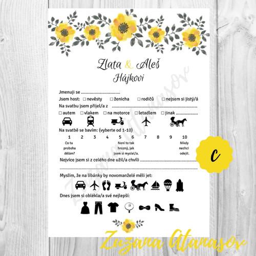 Doplňovačka č. 12a - žluté květy - svatební zábava