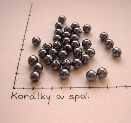 Perle skleněné voskované tm. stříbrošedé 6mm,36 ks