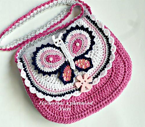 Háčkovaná kabelka s motýlkem - návod na háčkování