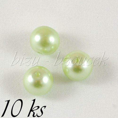 Zelené voskované perle - 10mm - 10ks