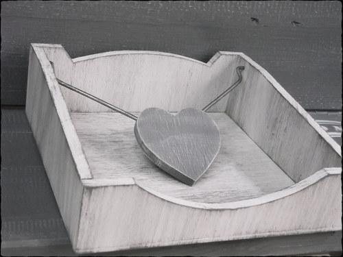 Stojánek na ubrousky velký - bílý s šedou patinou