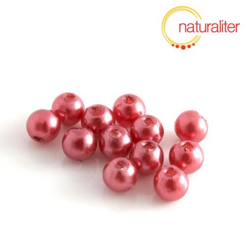 Voskované perly, červené, 6mm, 50ks