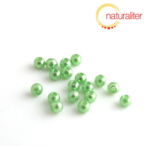 Voskované perly, světle zelené, 4mm, 100ks