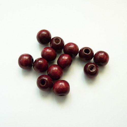 Červenohnědé kuličky MIX - dřevo 13 ks