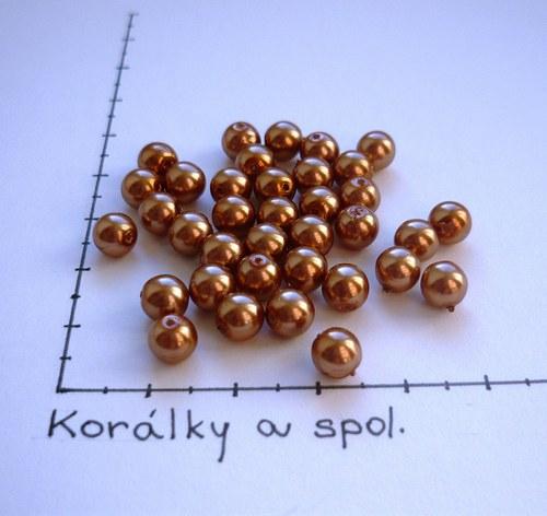 Perle skleněné voskované bronzové 6mm, 36 ks