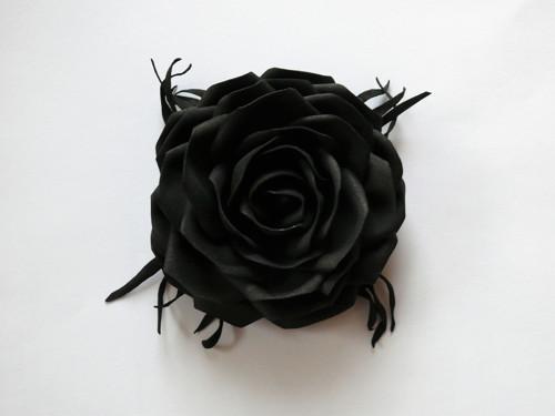 Černá klasika - fascinátor/brož, Ø 10cm