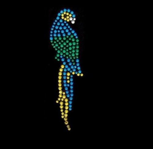 Papoušek - Štrasový nažehlovací motiv, kamínky