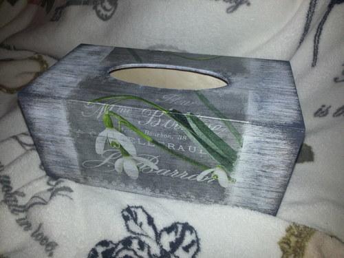 Krabička na kapesníky 200 ks - sněženky