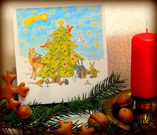 Vánoce lesních zvířátek - pohlednice