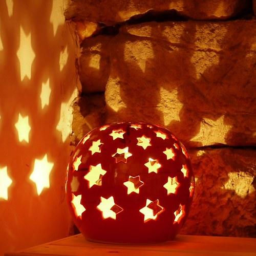 Kameninové zahradní světlo (koule)-Hvězdičková