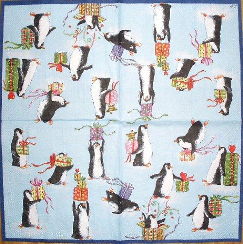 VM 018 Ihr - ubrousek na decoupage 33x33 - tučňáci