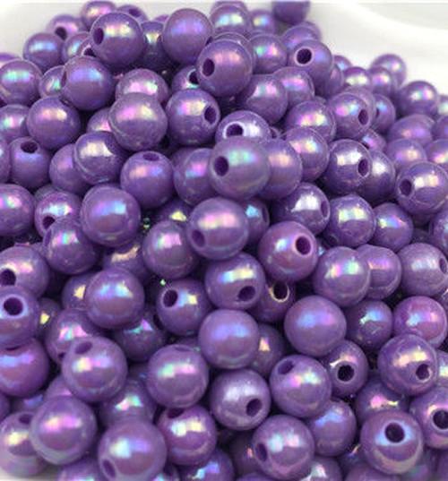40ks/6mm AB Korálky akrylové fialové