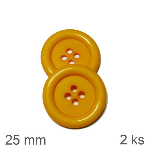 Knoflíky 25 mm žluté 2 ks