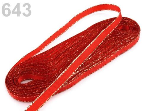 Taftová stuha s lurexem 9mm (10m) - červená