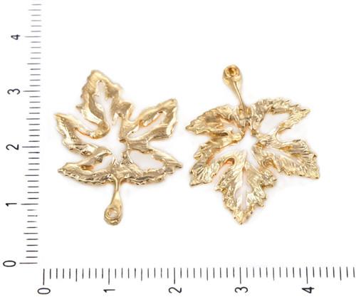 6ks Gold Tón Pozlacený Dutý Javorový List Příroda