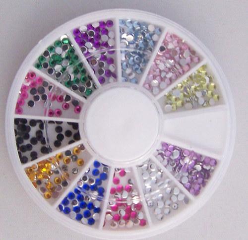 Kamínky MIX v karuselu/ MIX barev 2-3mm/ 1set