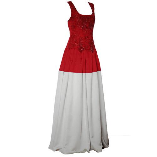 Spoločenské šaty s vyšívaným korálovým živôtikom