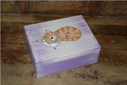 Malovaná krabička na čaj - kočka