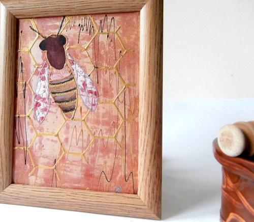 Pro zanícené včelaře-obr.malovaný na hedvábí