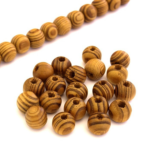 Dřevěné korálky natural 12mm (cena 30ks)