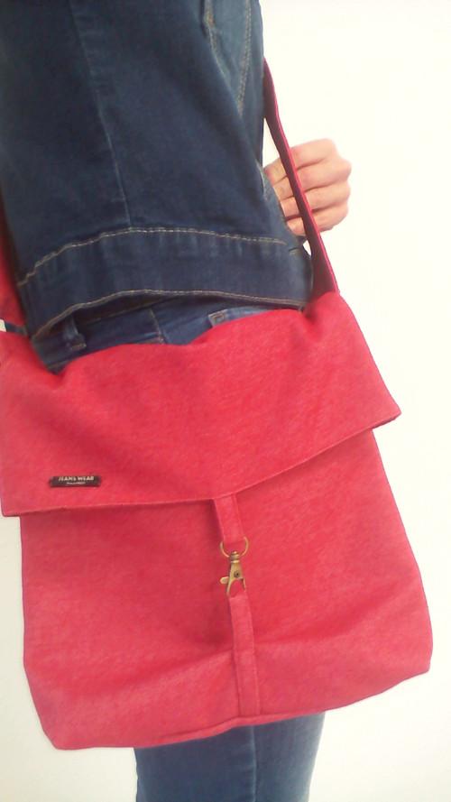Riflová kabelka červená