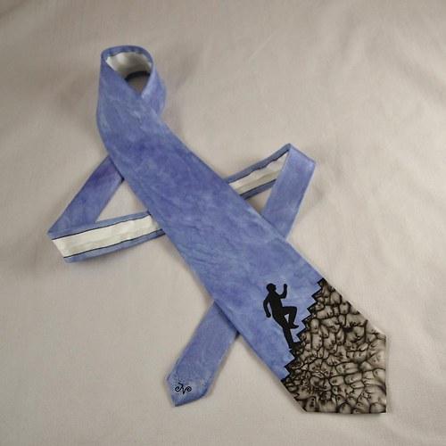 Hedvábná kravata s běžcem do schodů - modrošedá