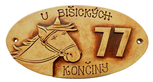 originální keramická jmenovka /kůň+ číslo popisné/