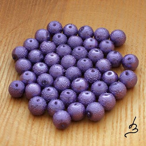 Voskové perle vroubkované fialové 8 mm - 20 ks
