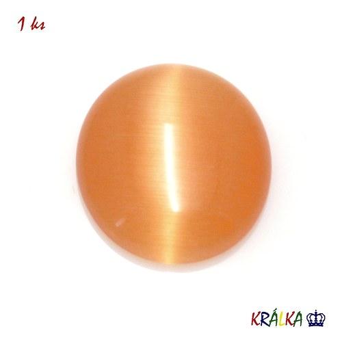 Skleněný kabošon ovál oranžový