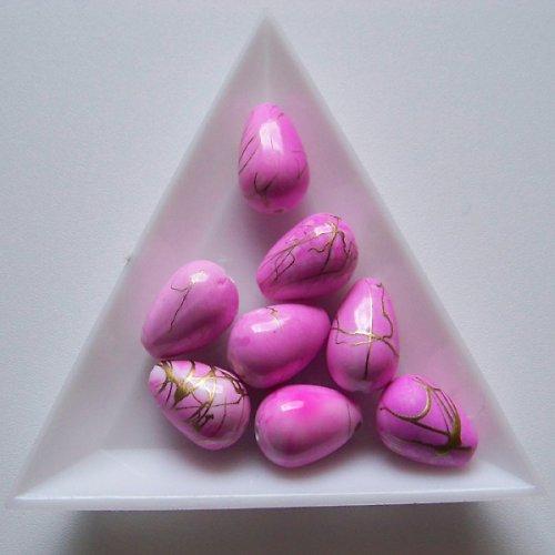 akrylové korálky, žíhané / 10x15mm / růžové /  4ks