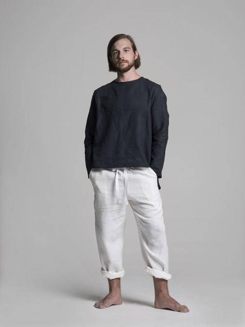 Lněné pánské kalhoty - bílé