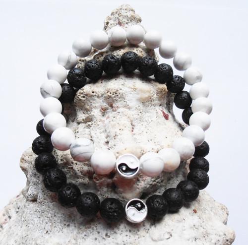 Párové náramky z minerálů Jing a Jang