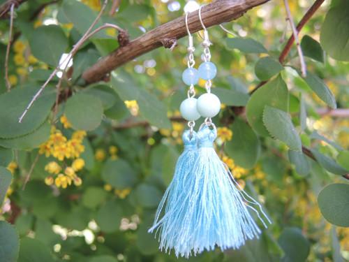 modré střapce (amazonit)