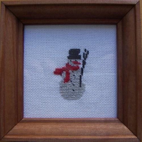 Vyšívaný obrázek - sněhulák