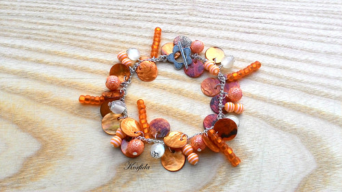 Náramek perleť oranžová