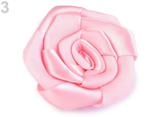 Saténová růže Ø50 mm (2ks) - růžová