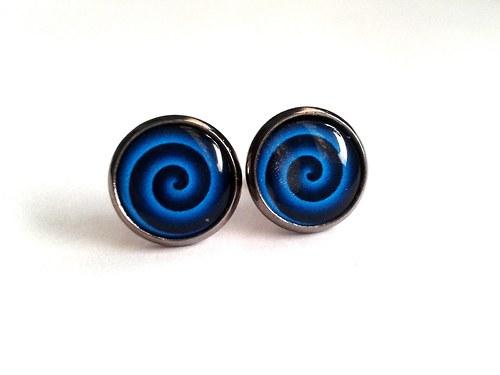 Blue spirals - náušnice