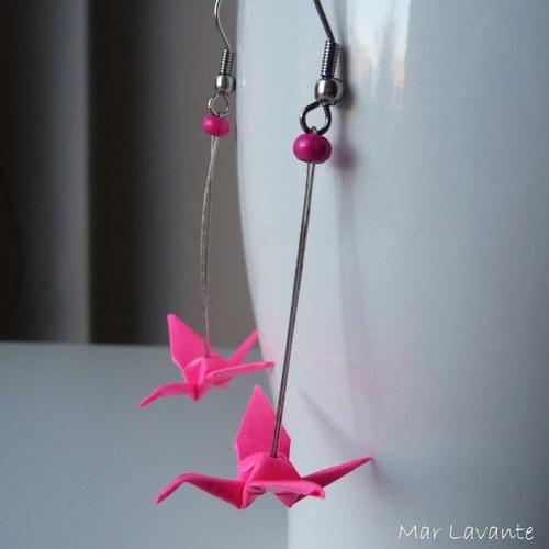 Origami náušnice papíroví ptáčci neonově růžová
