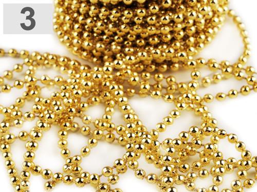 Perlový řetěz Ø4 mm(3m) - zlatá