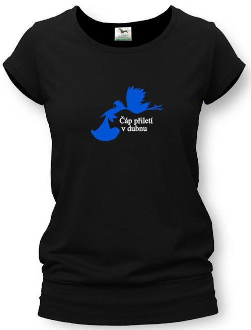 Těhotenské tričko s potiskem - čáp (bílý nápis)
