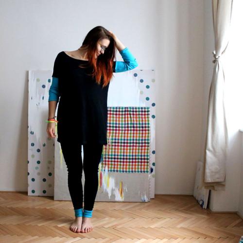 Merino ♥ šaty oversized černo-tyrkysové