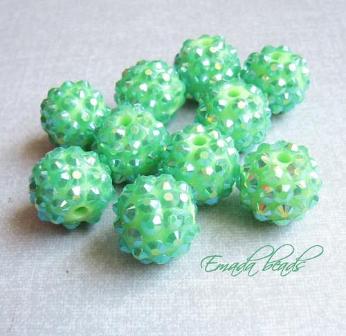 Akrylresin korále zelená, průměr 1,4 cm