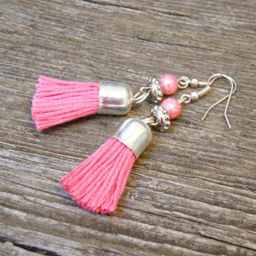 náušnice střapce růžové