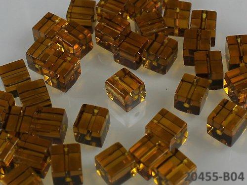 20455-B04 Korálky kostky sklo TM.ŽLUTÉ, bal.10ks
