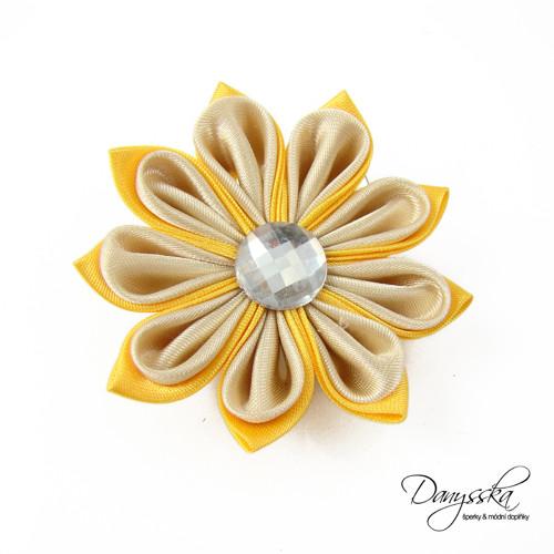 Žlutá saténová květina - brož/sponka do vlasů