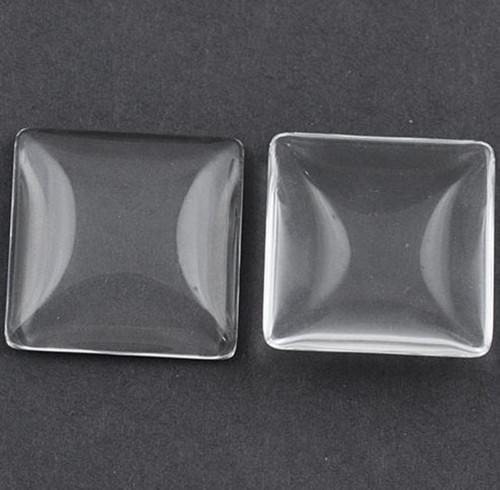 Skleněný kabošon čirý 25 mm ČTVEREC